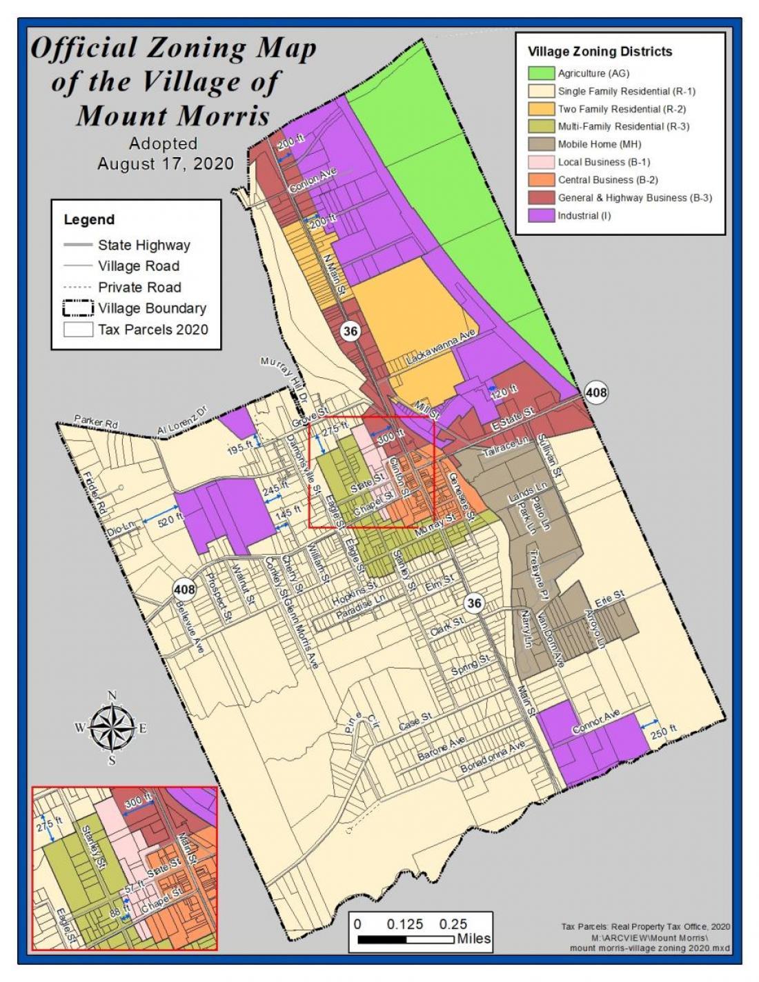Village of Mount Morris Zoning Map